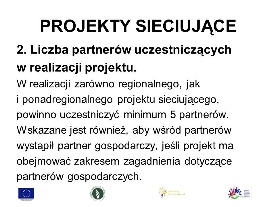 PROJEKTY SIECIUJĄCE 2. Liczba partnerów uczestniczących w realizacji projektu.