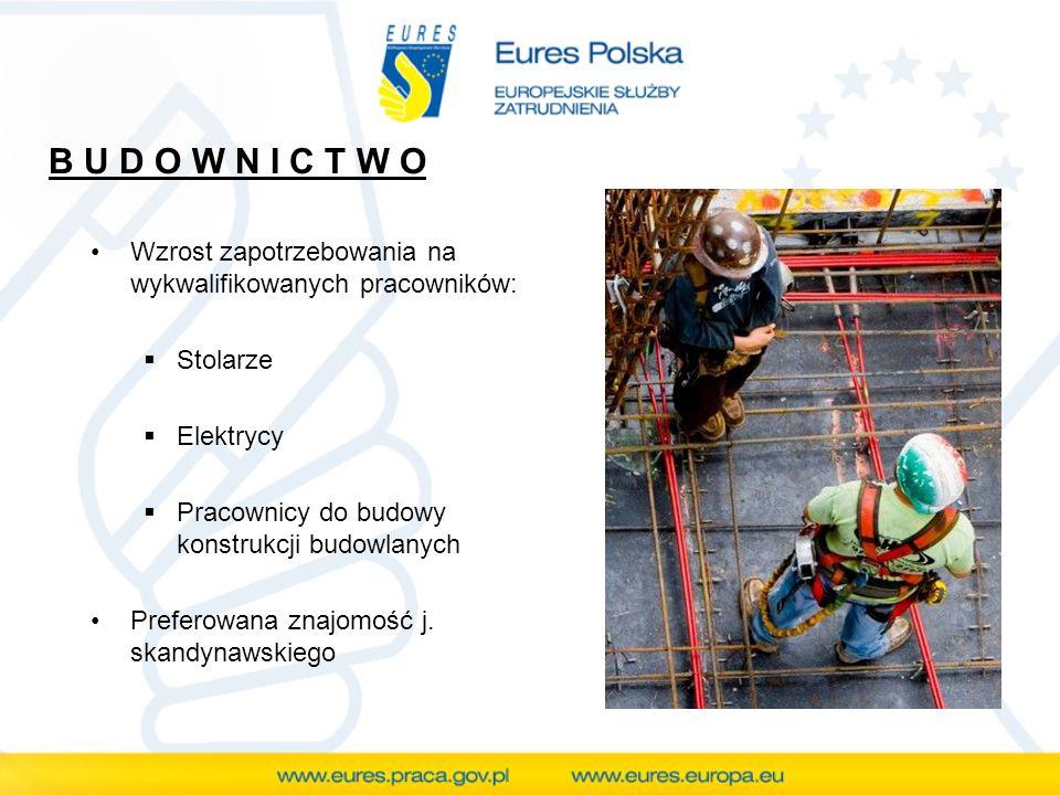 B U D O W N I C T W O Wzrost zapotrzebowania na wykwalifikowanych pracowników: Stolarze Elektrycy Pracownicy do budowy konstrukcji budowlanych Prefero