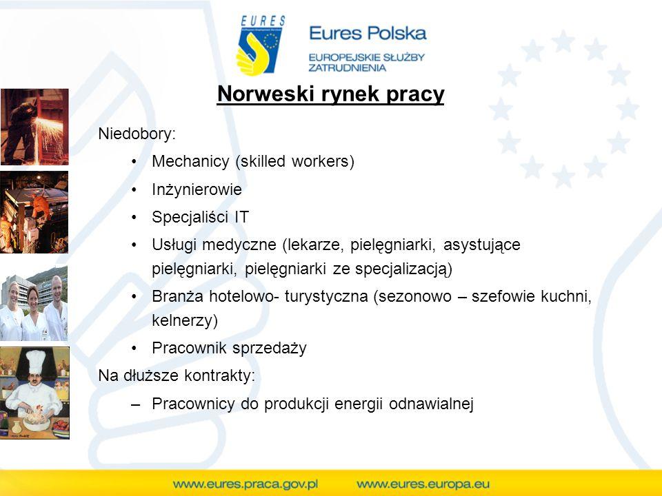 Norweski rynek pracy Niedobory: Mechanicy (skilled workers) Inżynierowie Specjaliści IT Usługi medyczne (lekarze, pielęgniarki, asystujące pielęgniark