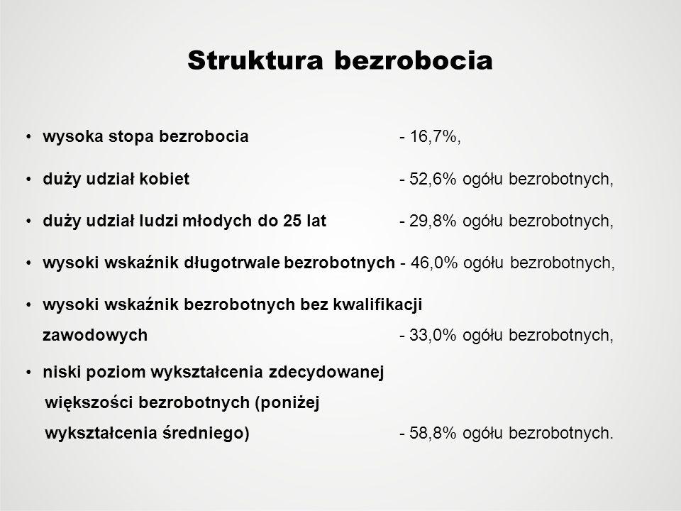 Struktura bezrobocia wysoka stopa bezrobocia - 16,7%, duży udział kobiet - 52,6% ogółu bezrobotnych, duży udział ludzi młodych do 25 lat - 29,8% ogółu