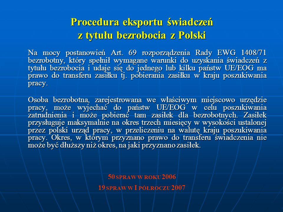 Procedura eksportu świadczeń z tytułu bezrobocia z Polski Na mocy postanowień Art.