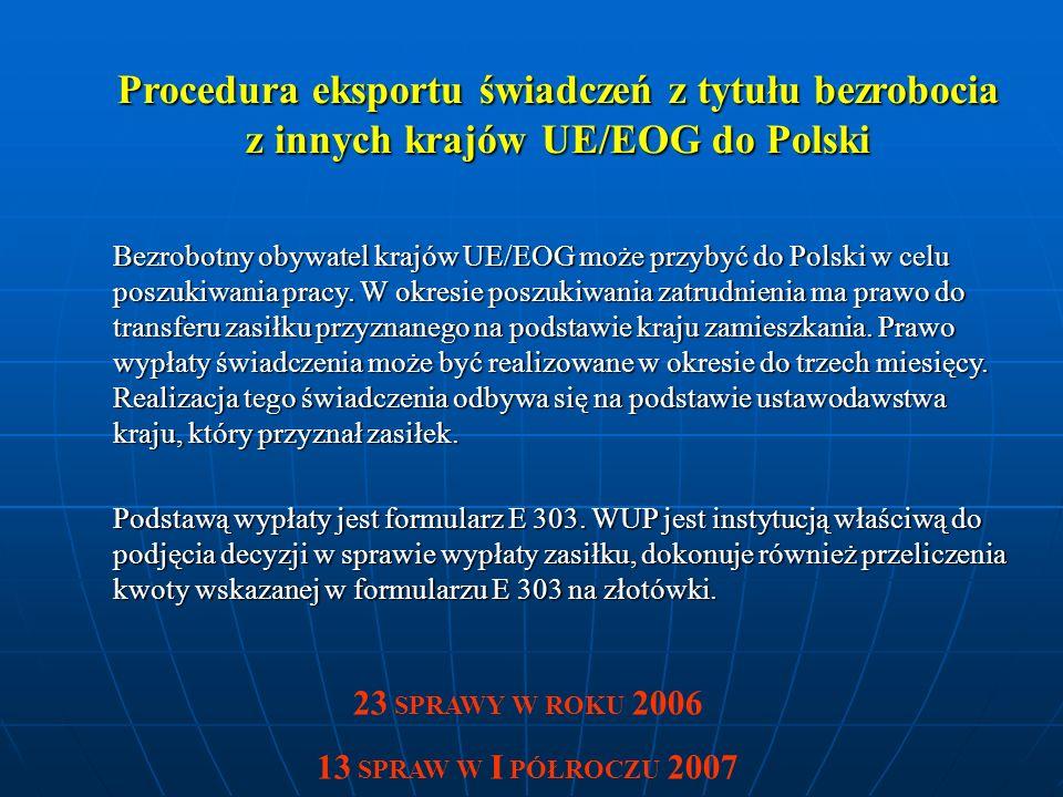 Procedura eksportu świadczeń z tytułu bezrobocia z innych krajów UE/EOG do Polski Bezrobotny obywatel krajów UE/EOG może przybyć do Polski w celu poszukiwania pracy.