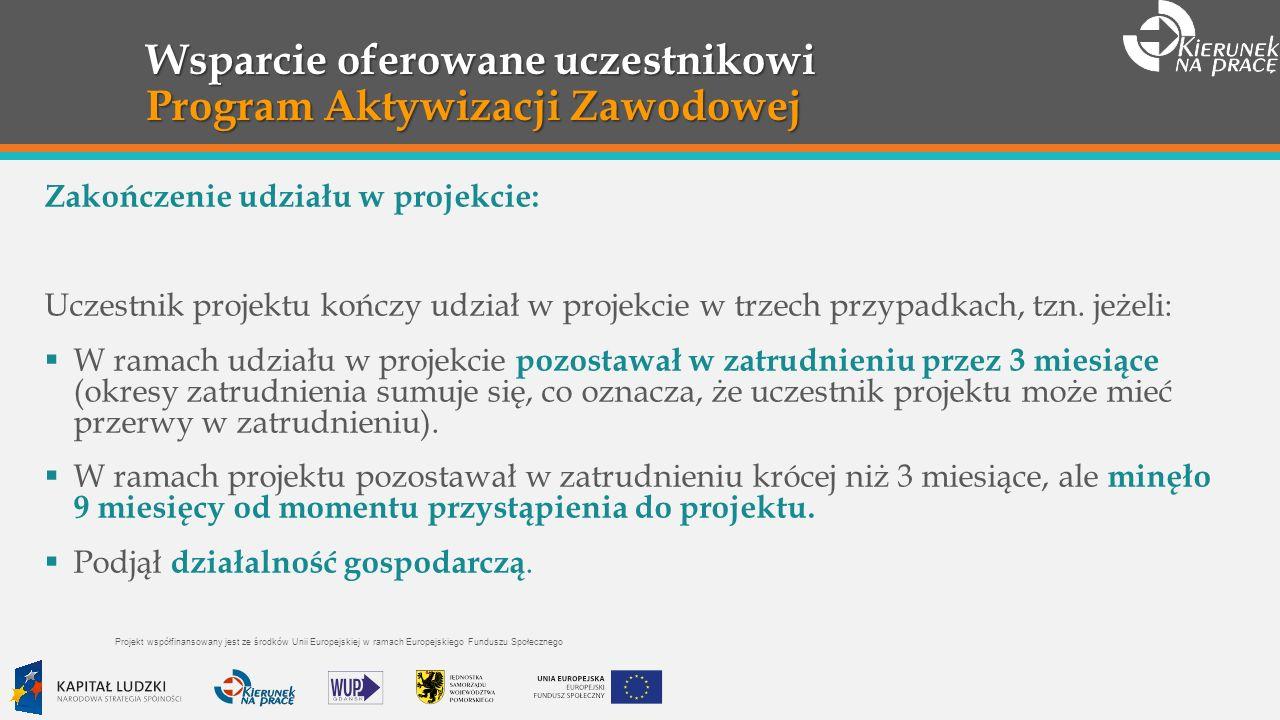 Wsparcie oferowane uczestnikowi Program Aktywizacji Zawodowej Zakończenie udziału w projekcie: Uczestnik projektu kończy udział w projekcie w trzech przypadkach, tzn.
