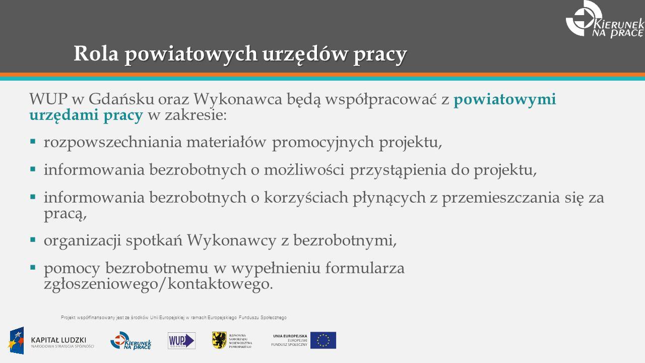 powiatowych urzędów pracy Rola powiatowych urzędów pracy WUP w Gdańsku oraz Wykonawca będą współpracować z powiatowymi urzędami pracy w zakresie: rozpowszechniania materiałów promocyjnych projektu, informowania bezrobotnych o możliwości przystąpienia do projektu, informowania bezrobotnych o korzyściach płynących z przemieszczania się za pracą, organizacji spotkań Wykonawcy z bezrobotnymi, pomocy bezrobotnemu w wypełnieniu formularza zgłoszeniowego/kontaktowego.