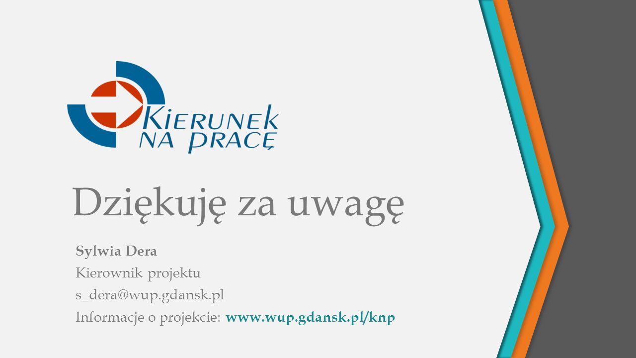 Dziękuję za uwagę Sylwia Dera Kierownik projektu s_dera@wup.gdansk.pl Informacje o projekcie: www.wup.gdansk.pl/knp