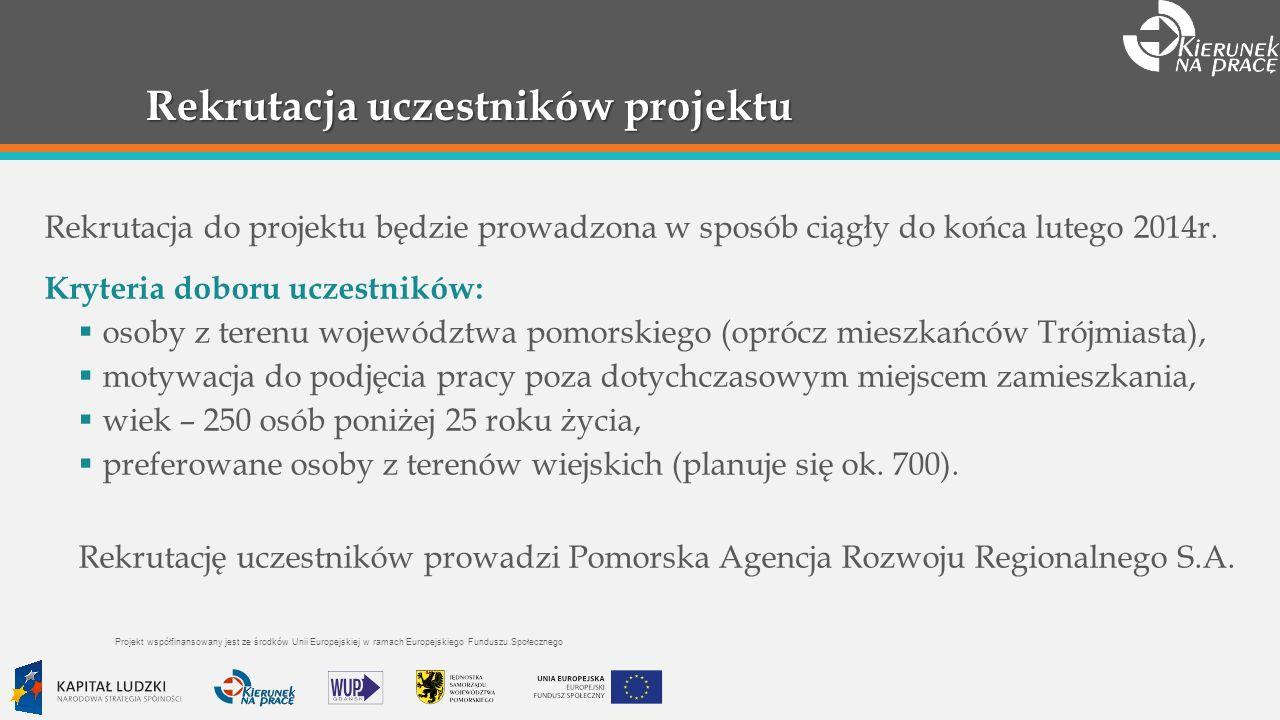 Rekrutacja uczestników projektu Rekrutacja do projektu będzie prowadzona w sposób ciągły do końca lutego 2014r.