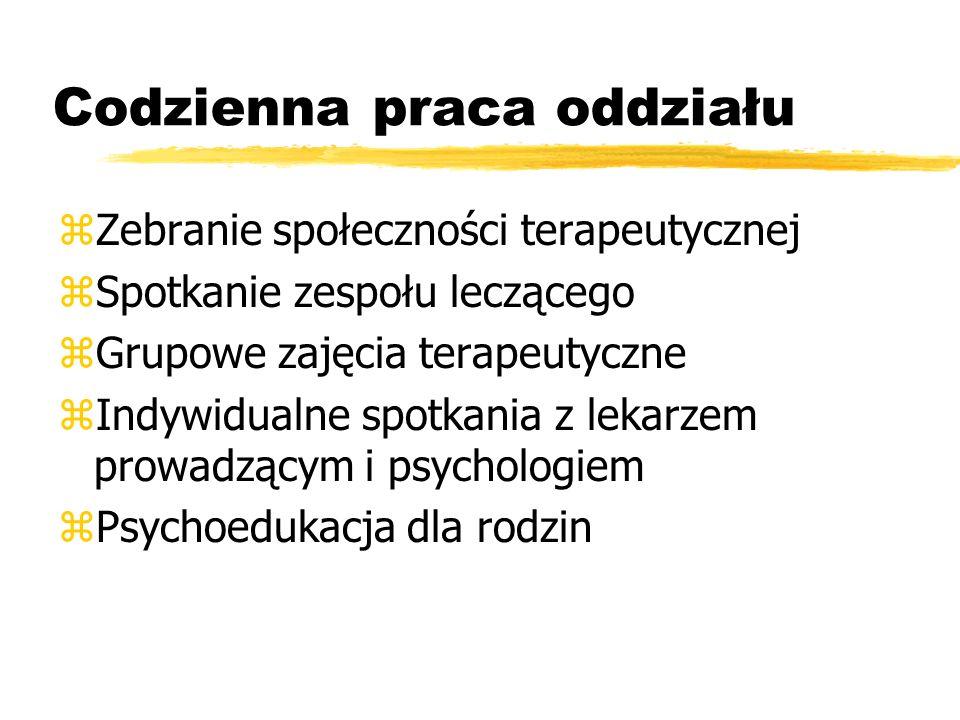 Codzienna praca oddziału zZebranie społeczności terapeutycznej zSpotkanie zespołu leczącego zGrupowe zajęcia terapeutyczne zIndywidualne spotkania z lekarzem prowadzącym i psychologiem zPsychoedukacja dla rodzin