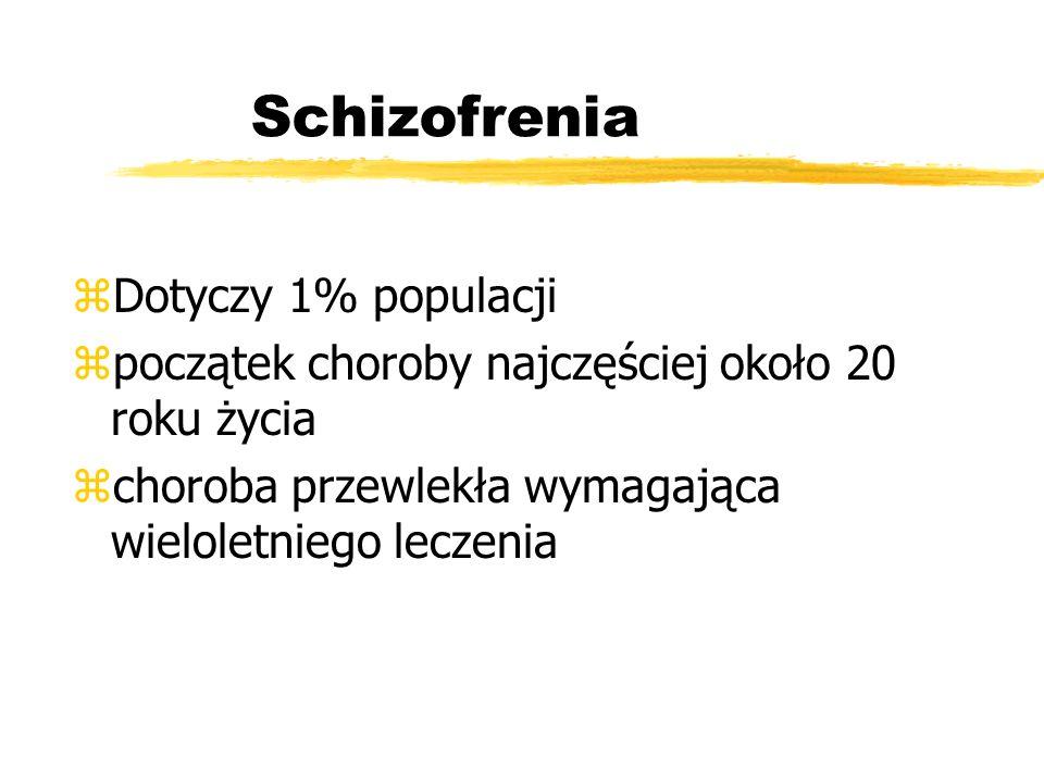 Schizofrenia zDotyczy 1% populacji zpoczątek choroby najczęściej około 20 roku życia zchoroba przewlekła wymagająca wieloletniego leczenia