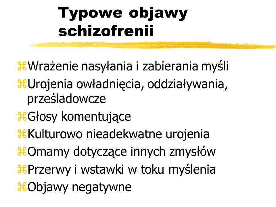 Typowe objawy schizofrenii zWrażenie nasyłania i zabierania myśli zUrojenia owładnięcia, oddziaływania, prześladowcze zGłosy komentujące zKulturowo ni