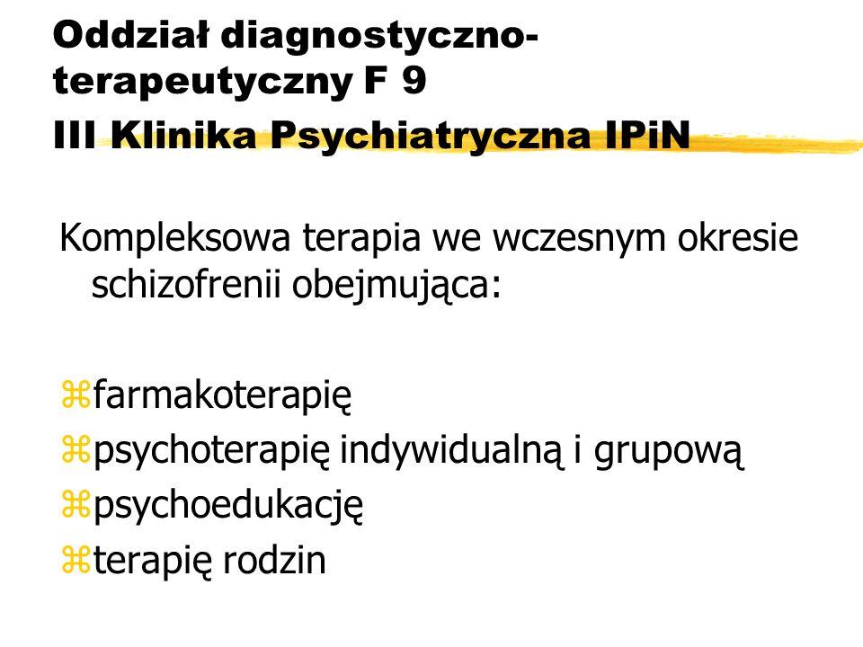 Oddział diagnostyczno- terapeutyczny F 9 III Klinika Psychiatryczna IPiN Kompleksowa terapia we wczesnym okresie schizofrenii obejmująca: zfarmakotera