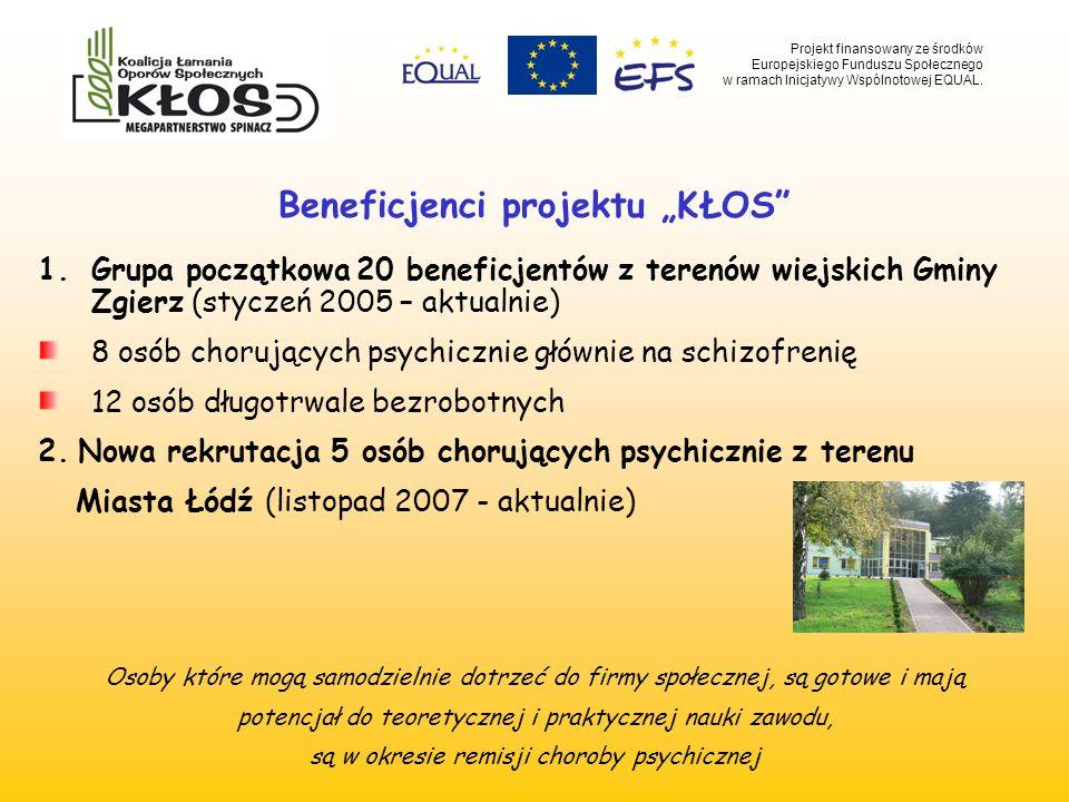 Beneficjenci projektu KŁOS 1.Grupa początkowa 20 beneficjentów z terenów wiejskich Gminy Zgierz (styczeń 2005 – aktualnie) 8 osób chorujących psychicz