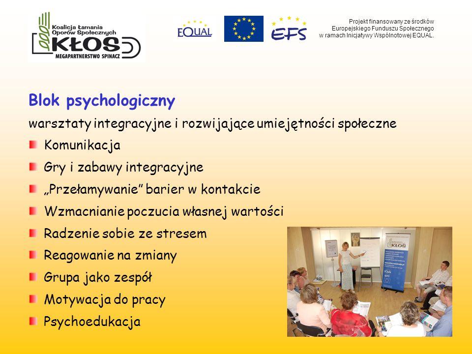 Blok psychologiczny warsztaty integracyjne i rozwijające umiejętności społeczne Komunikacja Gry i zabawy integracyjne Przełamywanie barier w kontakcie