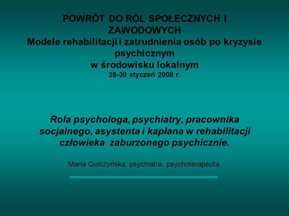 POWRÓT DO RÓL SPOŁECZNYCH I ZAWODOWYCH Modele rehabilitacji i zatrudnienia osób po kryzysie psychicznym w środowisku lokalnym 28-30 styczeń 2008 r.