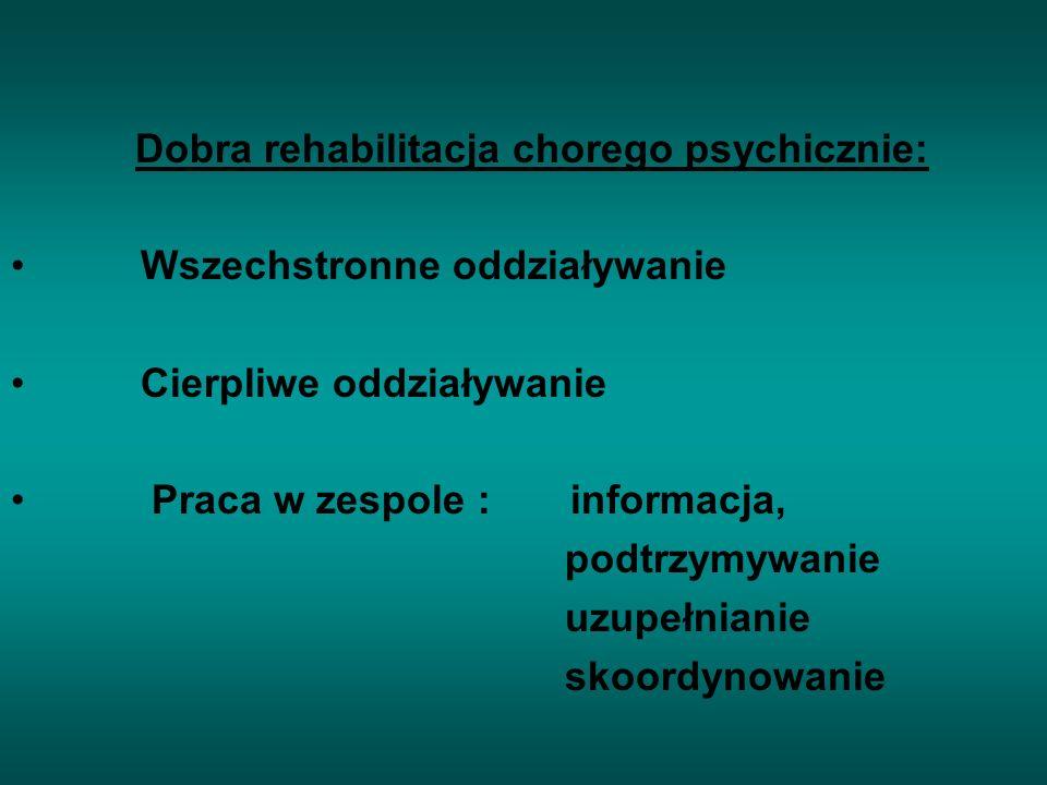 Dobra rehabilitacja chorego psychicznie: Wszechstronne oddziaływanie Cierpliwe oddziaływanie Praca w zespole : informacja, podtrzymywanie uzupełnianie skoordynowanie