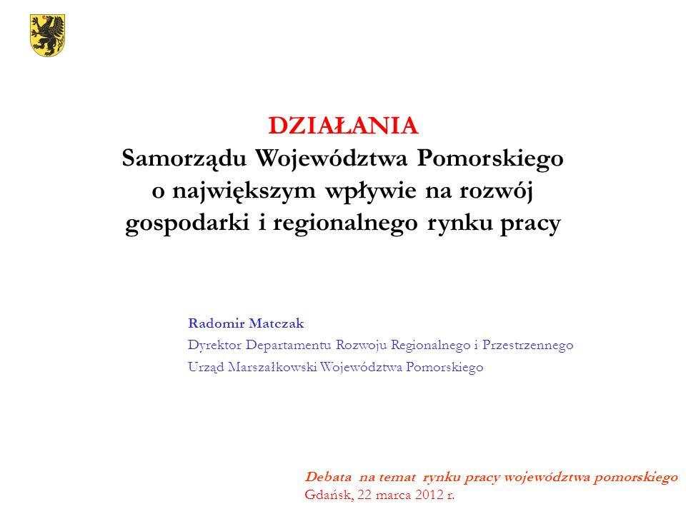 Debata na temat rynku pracy województwa pomorskiego Gdańsk, 22 marca 2012 r. DZIAŁANIA Samorządu Województwa Pomorskiego o największym wpływie na rozw
