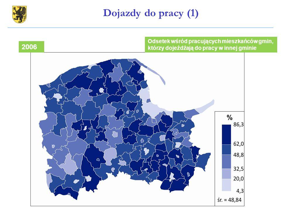 Odsetek wśród pracujących mieszkańców gmin, którzy dojeżdżają do pracy w innej gminie 2006 Dojazdy do pracy (1)