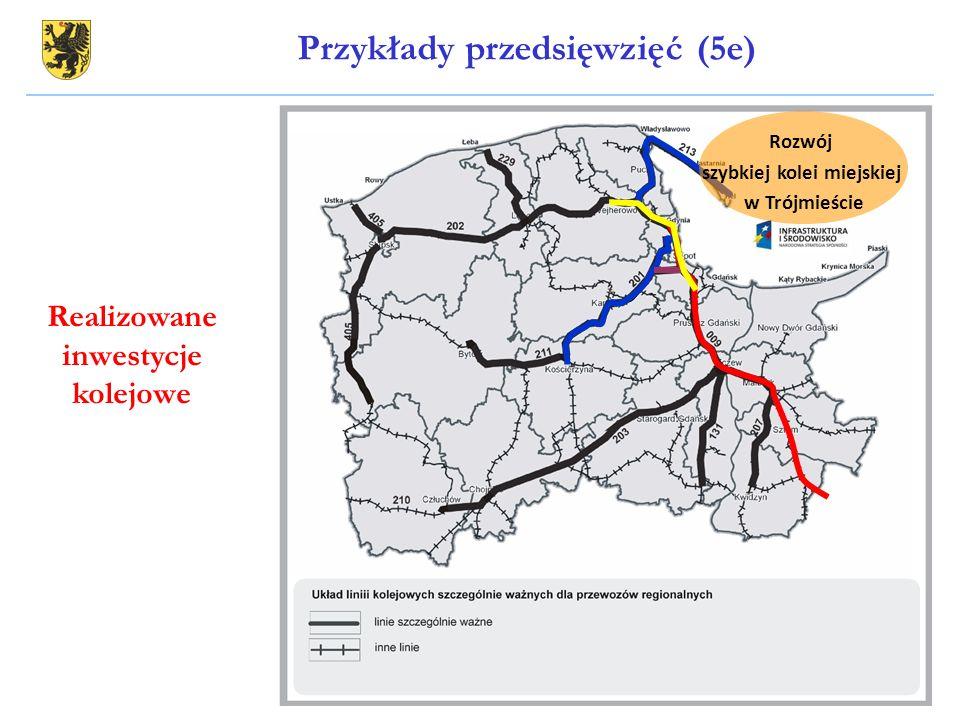 Przykłady przedsięwzięć (5e) Rozwój szybkiej kolei miejskiej w Trójmieście Realizowane inwestycje kolejowe