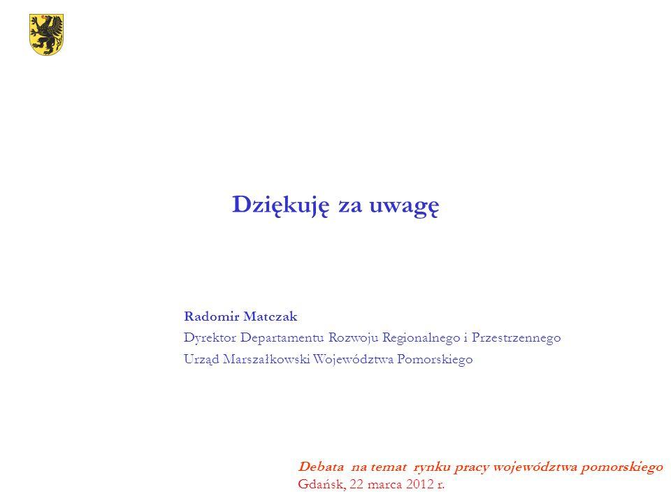 Dziękuję za uwagę Debata na temat rynku pracy województwa pomorskiego Gdańsk, 22 marca 2012 r. Radomir Matczak Dyrektor Departamentu Rozwoju Regionaln