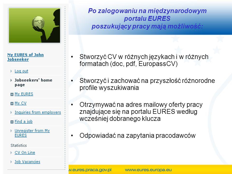 Po zalogowaniu na międzynarodowym portalu EURES poszukujący pracy mają możliwość: Stworzyć CV w różnych językach i w różnych formatach (doc, pdf, EuropassCV) Stworzyć i zachować na przyszłość różnorodne profile wyszukiwania Otrzymywać na adres mailowy oferty pracy znajdujące się na portalu EURES według wcześniej dobranego klucza Odpowiadać na zapytania pracodawców