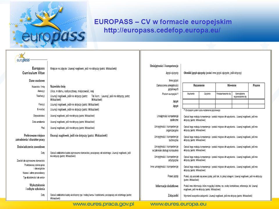 EUROPASS – CV w formacie europejskim http://europass.cedefop.europa.eu/