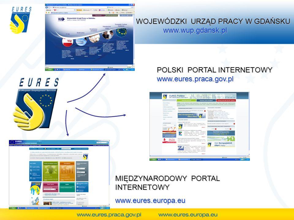 MIĘDZYNARODOWY PORTAL INTERNETOWY www.eures.europa.eu POLSKI PORTAL INTERNETOWY www.eures.praca.gov.pl WOJEWÓDZKI URZĄD PRACY W GDAŃSKU WOJEWÓDZKI URZ