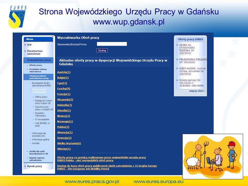 Strona Wojewódzkiego Urzędu Pracy w Gdańsku www.wup.gdansk.pl