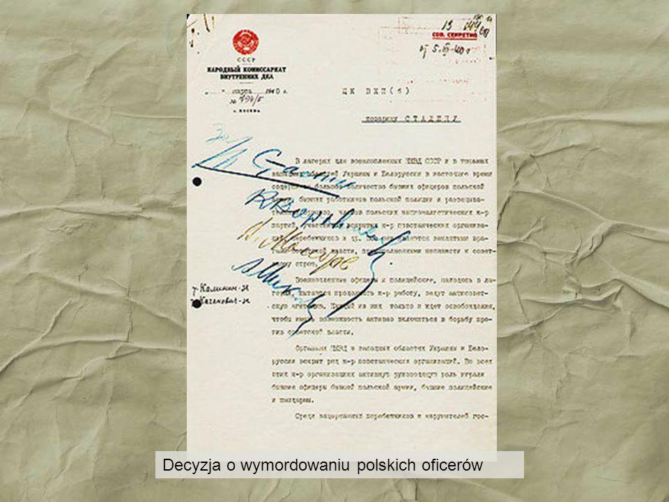 Decyzja o wymordowaniu polskich oficerów
