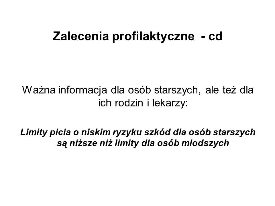 Zalecenia profilaktyczne - cd Ważna informacja dla osób starszych, ale też dla ich rodzin i lekarzy: Limity picia o niskim ryzyku szkód dla osób stars