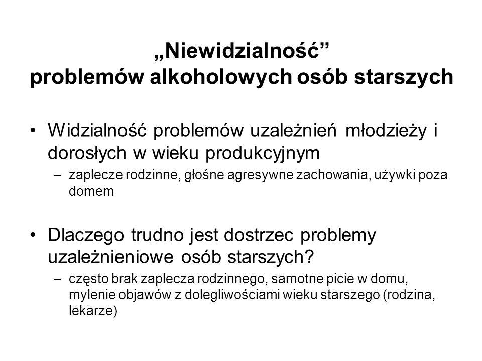 Niewidzialność problemów alkoholowych osób starszych Widzialność problemów uzależnień młodzieży i dorosłych w wieku produkcyjnym –zaplecze rodzinne, g