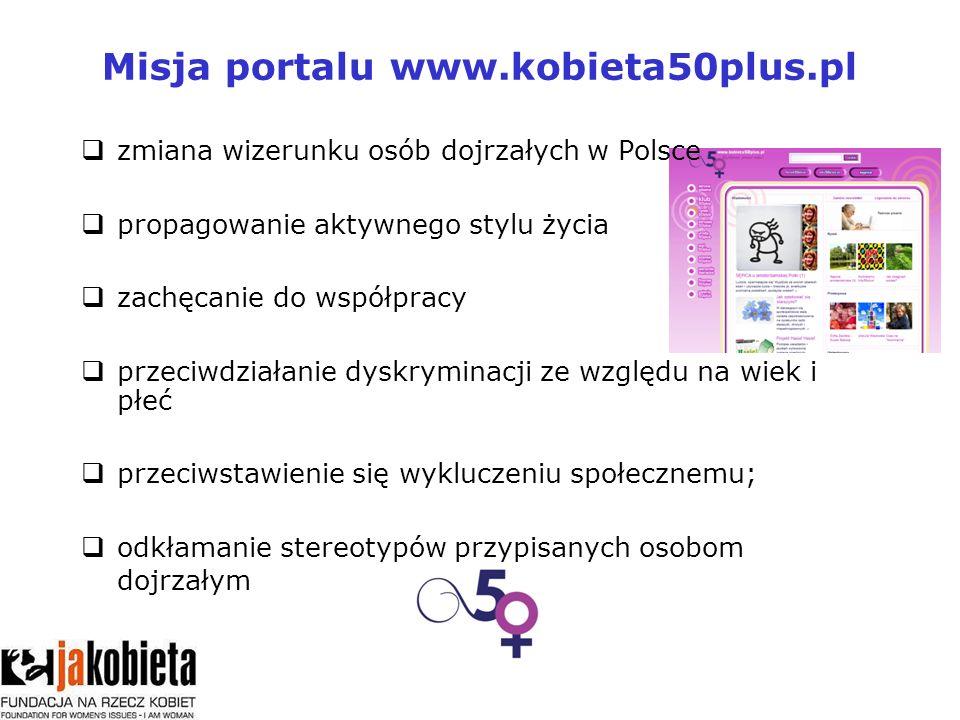 Misja portalu www.kobieta50plus.pl zmiana wizerunku osób dojrzałych w Polsce propagowanie aktywnego stylu życia zachęcanie do współpracy przeciwdziałanie dyskryminacji ze względu na wiek i płeć przeciwstawienie się wykluczeniu społecznemu; odkłamanie stereotypów przypisanych osobom dojrzałym