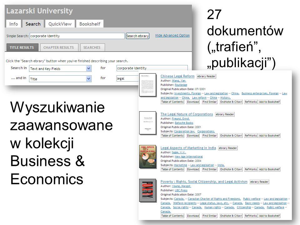 Wyszukiwanie zaawansowane w kolekcji Business & Economics 27 dokumentów (trafień, publikacji)