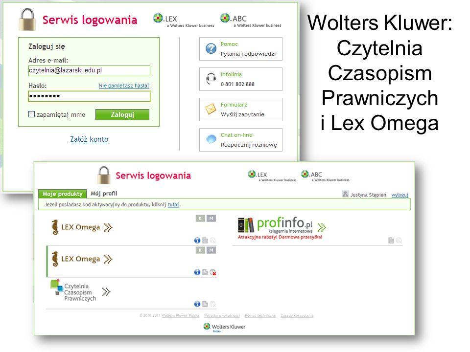 Wolters Kluwer: Czytelnia Czasopism Prawniczych i Lex Omega