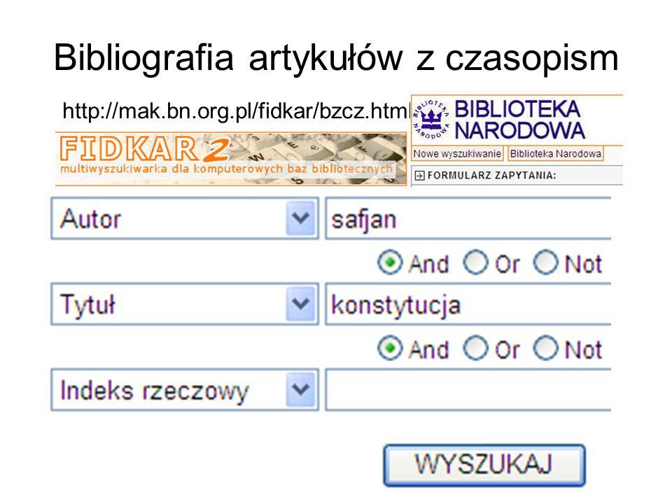 Bibliografia artykułów z czasopism http://mak.bn.org.pl/fidkar/bzcz.html