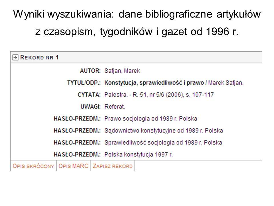Wyniki wyszukiwania: dane bibliograficzne artykułów z czasopism, tygodników i gazet od 1996 r.