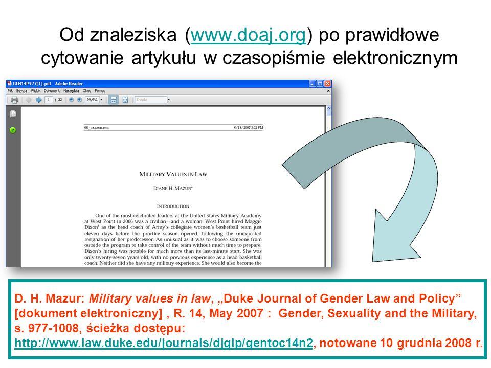 Od znaleziska (www.doaj.org) po prawidłowe cytowanie artykułu w czasopiśmie elektronicznymwww.doaj.org D. H. Mazur: Military values in law, Duke Journ