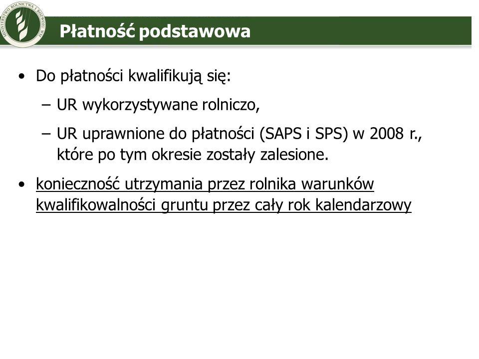 Płatność podstawowa Do płatności kwalifikują się: –UR wykorzystywane rolniczo, –UR uprawnione do płatności (SAPS i SPS) w 2008 r., które po tym okresi
