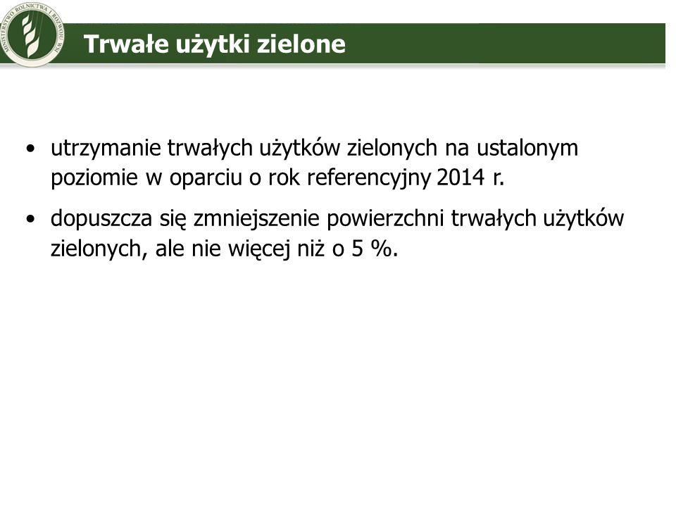 Trwałe użytki zielone utrzymanie trwałych użytków zielonych na ustalonym poziomie w oparciu o rok referencyjny 2014 r. dopuszcza się zmniejszenie powi