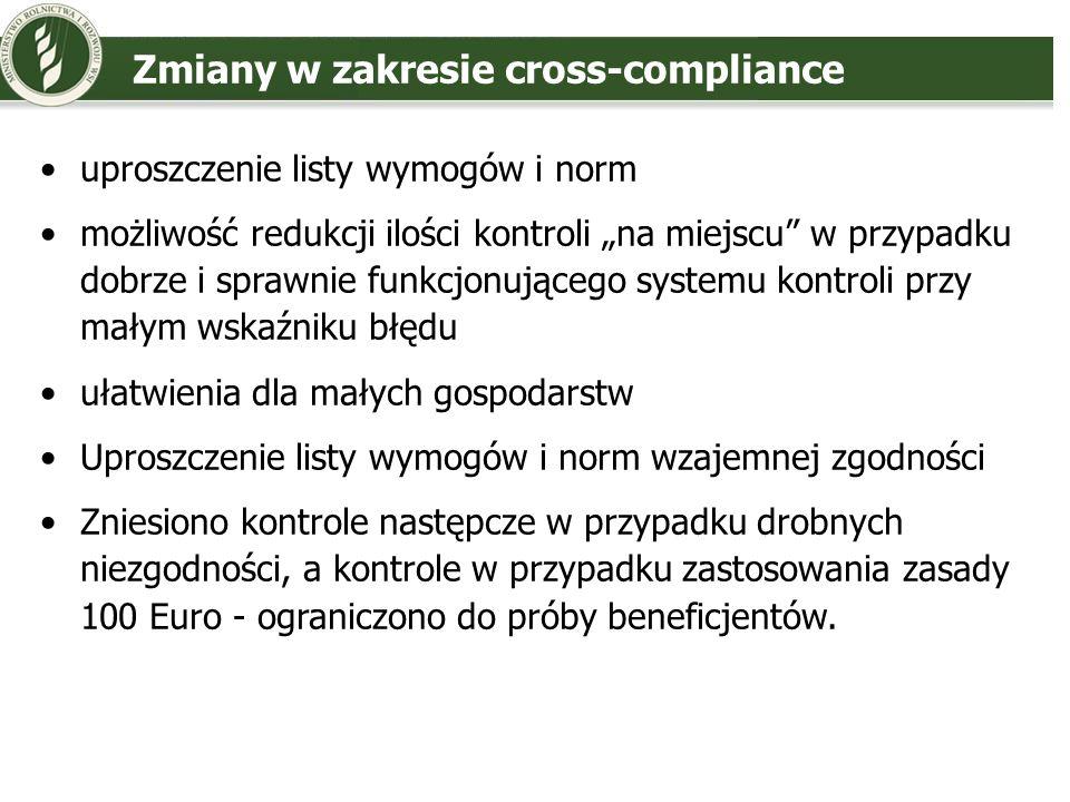 Zmiany w zakresie cross-compliance uproszczenie listy wymogów i norm możliwość redukcji ilości kontroli na miejscu w przypadku dobrze i sprawnie funkc