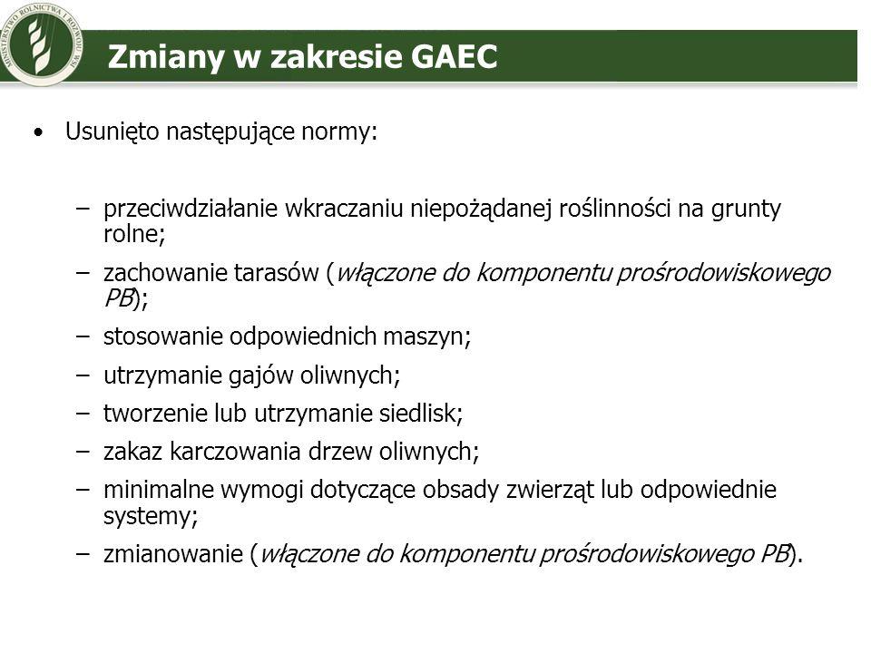 Zmiany w zakresie GAEC Usunięto następujące normy: –przeciwdziałanie wkraczaniu niepożądanej roślinności na grunty rolne; –zachowanie tarasów (włączon