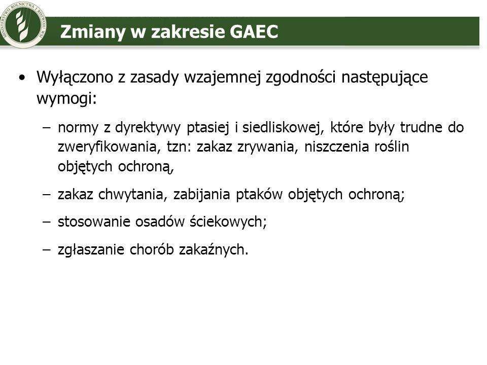 Zmiany w zakresie GAEC Wyłączono z zasady wzajemnej zgodności następujące wymogi: –normy z dyrektywy ptasiej i siedliskowej, które były trudne do zwer