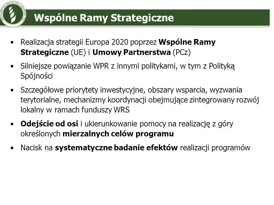 Wspólne Ramy Strategiczne Realizacja strategii Europa 2020 poprzez Wspólne Ramy Strategiczne (UE) i Umowy Partnerstwa (PCz) Silniejsze powiązanie WPR