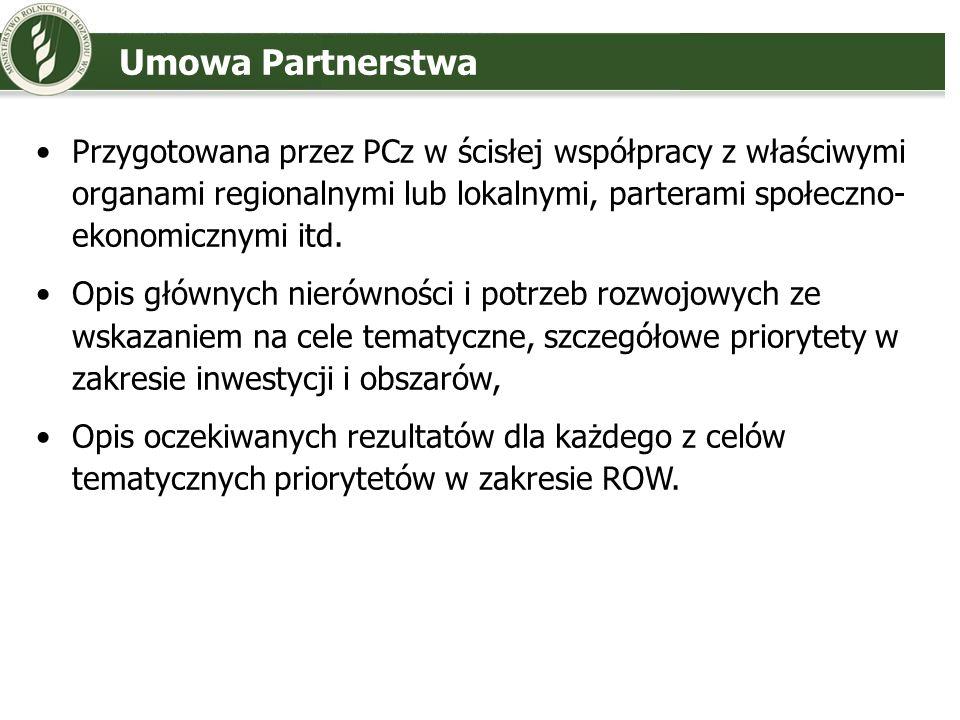 Umowa Partnerstwa Przygotowana przez PCz w ścisłej współpracy z właściwymi organami regionalnymi lub lokalnymi, parterami społeczno- ekonomicznymi itd