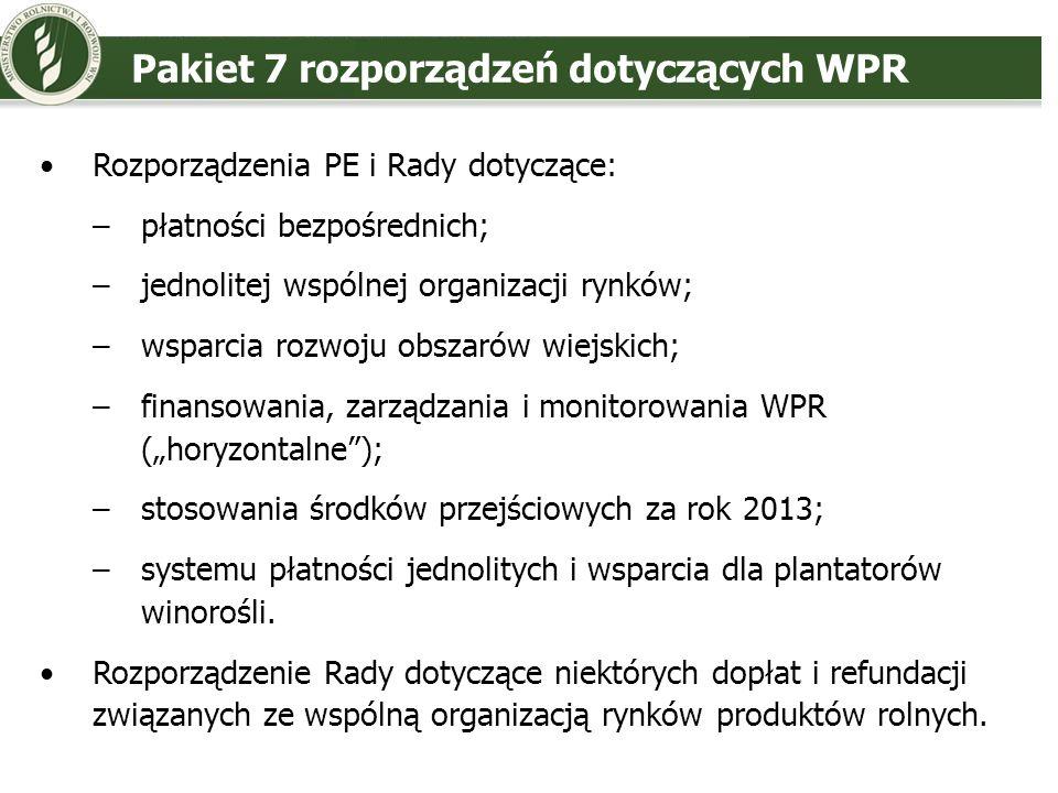Pakiet 7 rozporządzeń dotyczących WPR Rozporządzenia PE i Rady dotyczące: –płatności bezpośrednich; –jednolitej wspólnej organizacji rynków; –wsparcia