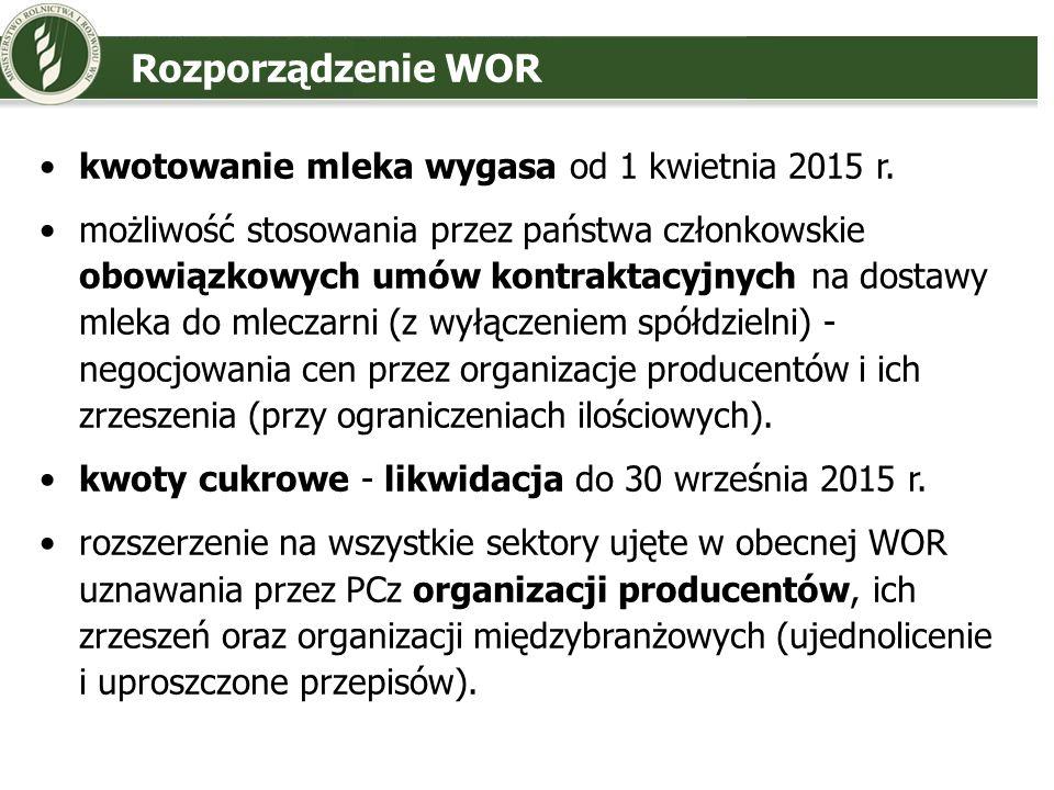 Rozporządzenie WOR kwotowanie mleka wygasa od 1 kwietnia 2015 r. możliwość stosowania przez państwa członkowskie obowiązkowych umów kontraktacyjnych n