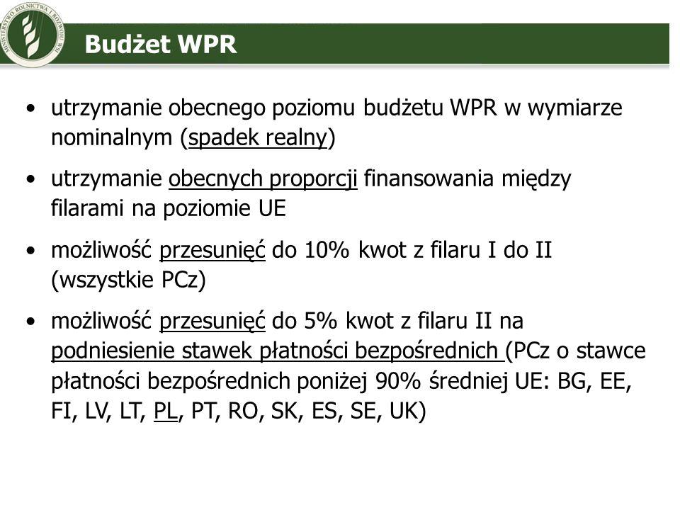 Budżet WPR utrzymanie obecnego poziomu budżetu WPR w wymiarze nominalnym (spadek realny) utrzymanie obecnych proporcji finansowania między filarami na