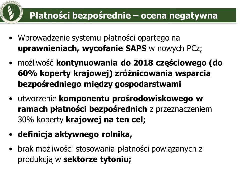 Płatności bezpośrednie – ocena negatywna Wprowadzenie systemu płatności opartego na uprawnieniach, wycofanie SAPS w nowych PCz; możliwość kontynuowani