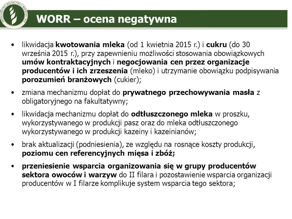WORR – ocena negatywna likwidacja kwotowania mleka (od 1 kwietnia 2015 r.) i cukru (do 30 września 2015 r.), przy zapewnieniu możliwości stosowania ob
