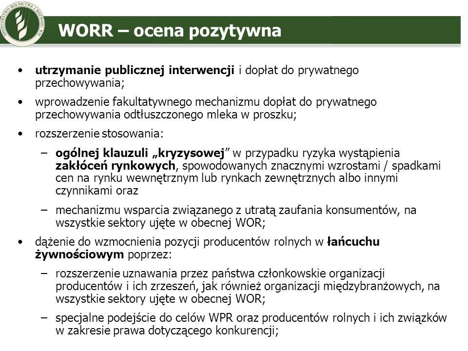 WORR – ocena pozytywna utrzymanie publicznej interwencji i dopłat do prywatnego przechowywania; wprowadzenie fakultatywnego mechanizmu dopłat do prywa