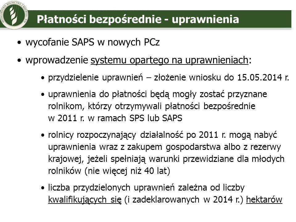 Płatności bezpośrednie - uprawnienia wycofanie SAPS w nowych PCz wprowadzenie systemu opartego na uprawnieniach: przydzielenie uprawnień – złożenie wn