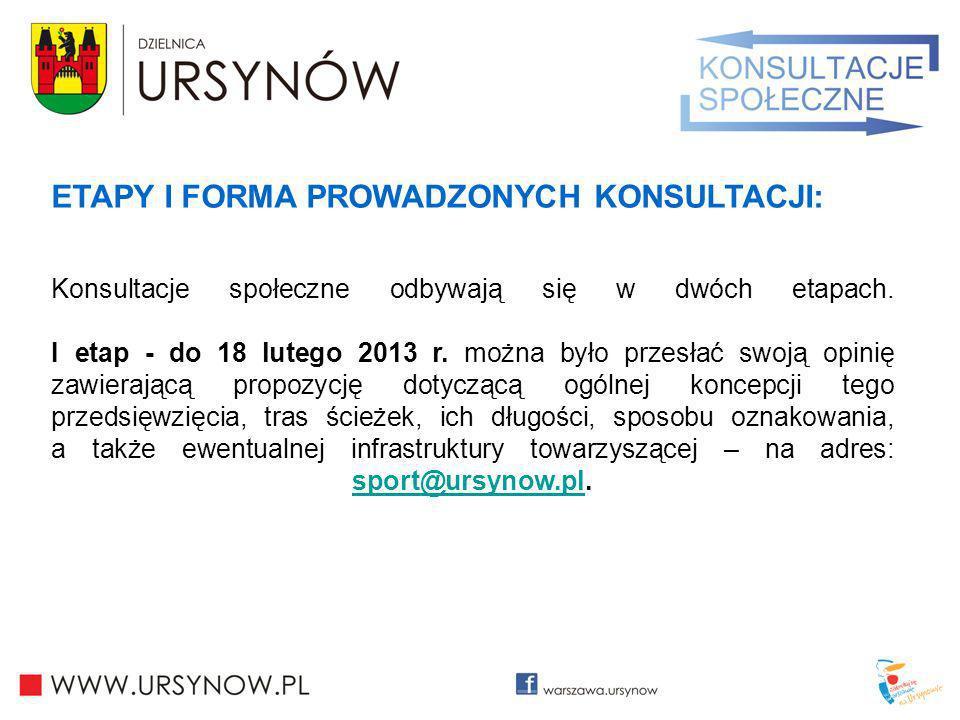 ETAPY I FORMA PROWADZONYCH KONSULTACJI: Konsultacje społeczne odbywają się w dwóch etapach. I etap - do 18 lutego 2013 r. można było przesłać swoją op